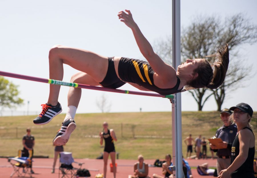 File Photo: Nikki Larch-Miller high jumps Tuesday in Cessna Stadium during the K.T. Woodman Multi-Events. Larch-Miller won the Heptathalon with a point total of 5,551. (April 11, 2017)