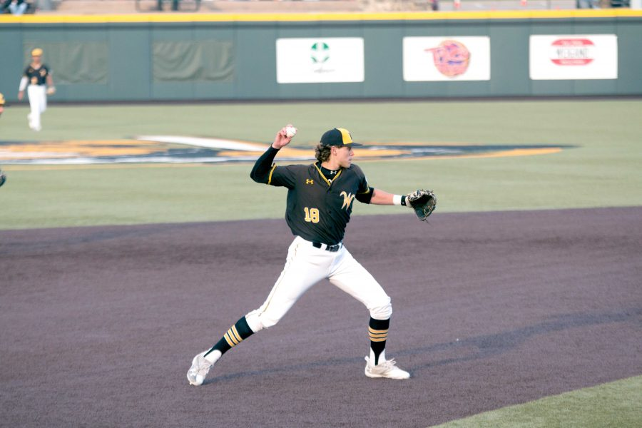 Wichita+State+sophomore+Alec+Bohm+throws+to+first+base+during+a+game+against%0AValparaiso.+WSU+dropped+the+rubber+match+against+Missouri+State+on+Sunday.++%28File+photo%29