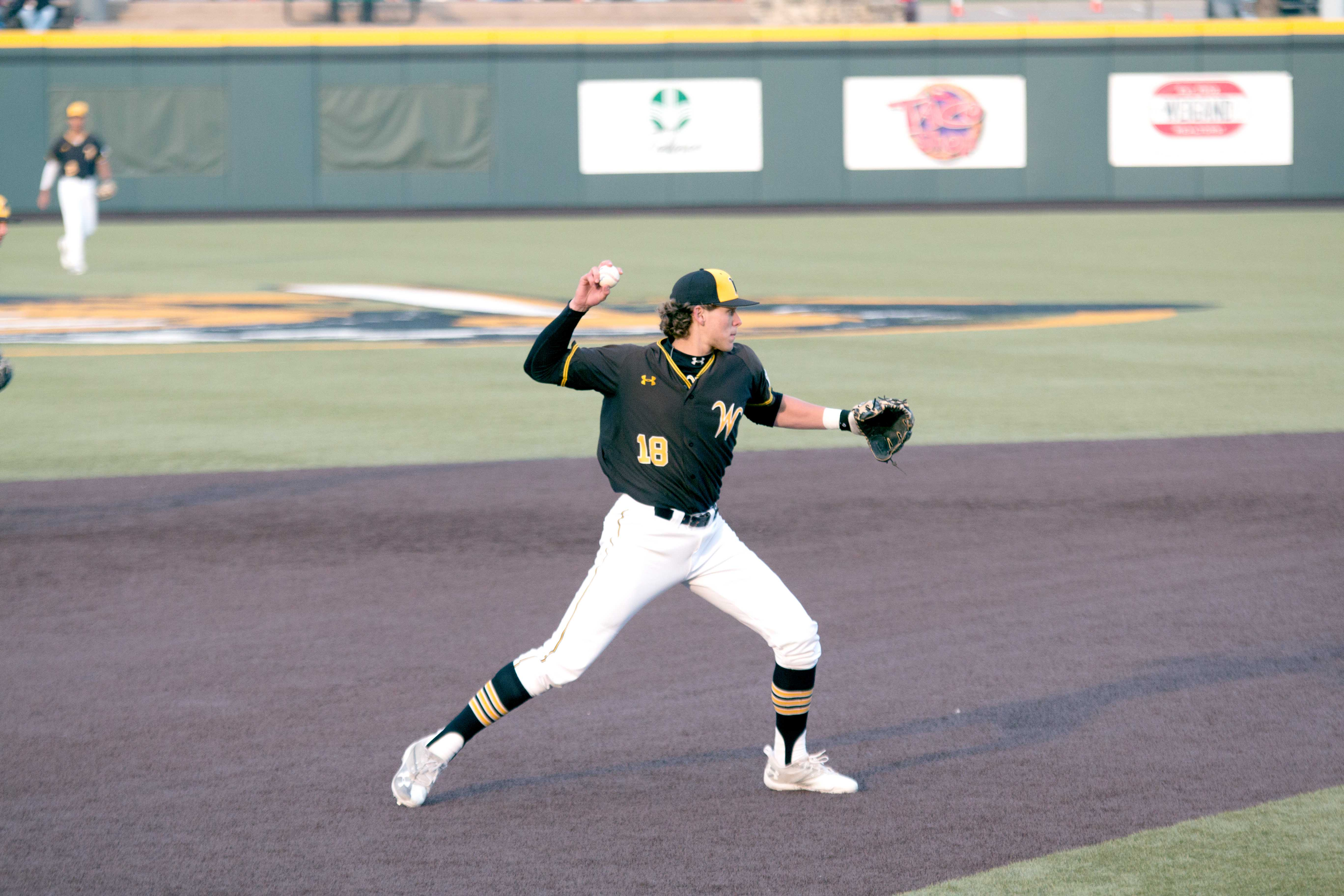 Wichita State sophomore Alec Bohm throws to first base during a game against Valparaiso. WSU dropped the rubber match against Missouri State on Sunday.  (File photo)