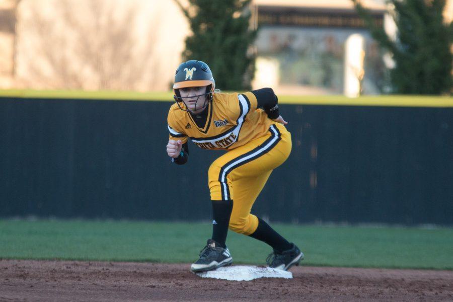 Freshman Kiersten Otte gets ready to run to third base during the game against Tulsa.