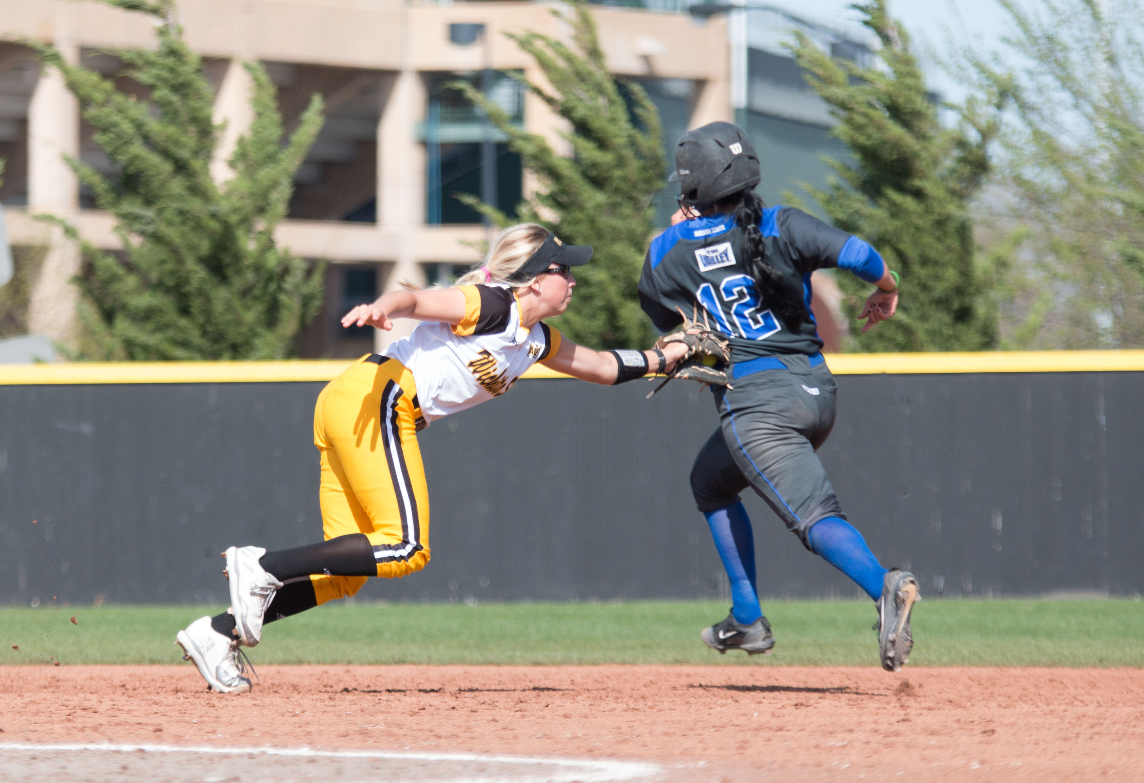 Senior Kelli Spring tags an Indiana State player during a double play in the top of the fifth inning of Friday's first game.