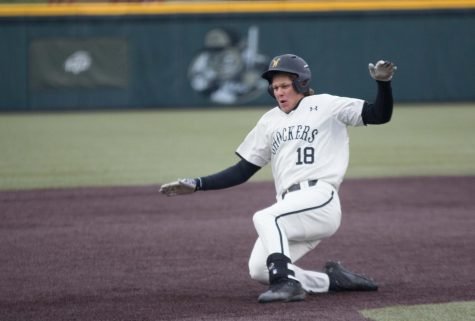 Wichita State third baseman Alec Bohm slides to third base during the game against Illinois State at Eck Stadium (April 29, 2017)