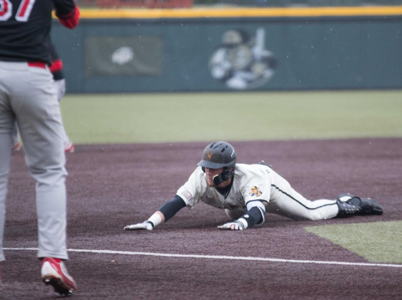 Wichita State infielder Jordan Boyer slides to third base during the game against Illinois State at Eck Stadium (April 29, 2017)