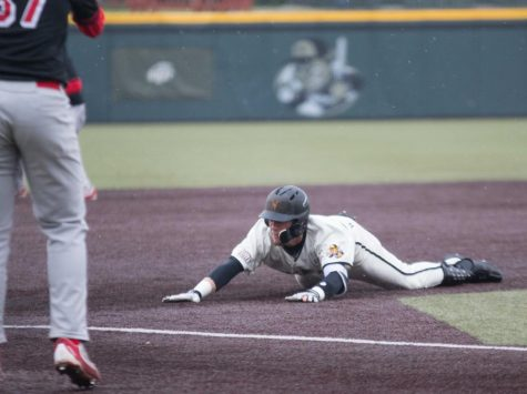 Wichita State infielder Jordan Boyer slides to third base during the game against Illinois State at Eck Stadium (April 29, 2017)