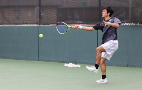 Wichita State Sophomore Haru Inoue returns the ball against Denver. (File photo)