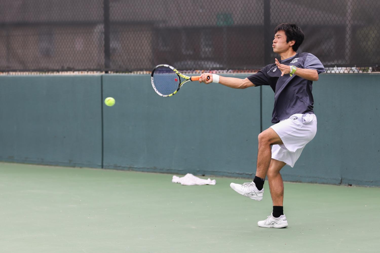 Wichita+State+Sophomore+Haru+Inoue+returns+the+ball+against+Denver.+%28File+photo%29