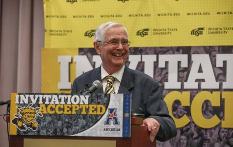 Wichita State President John Bardo speaks during a press conference announcing Wichita State's acceptance into the American Athletic Conference. (April 7, 2017)