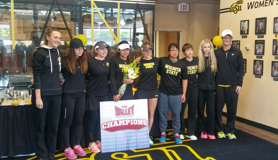 The+women%27s+tennis+team+clinched+the+MVC+regular+season+championship+title.+%28File+photo%29