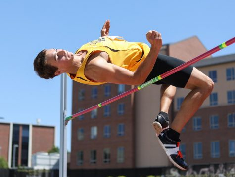 Ben Johnson high jumps during the decathlon Friday at the Missouri Valley Conference Outdoor Track and Field Championship. Johnson won the decathlon by a margin of over 400 points, scoring a total of 7053 points. (May 12, 2017)