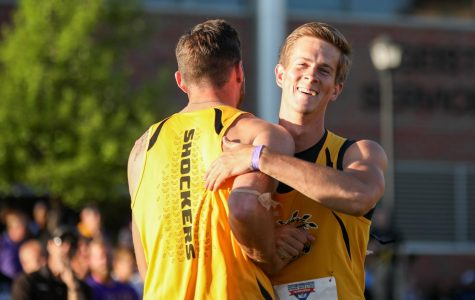 Aaron True hugs a teammate after winning the javelin with a throw of 229 feet 3 inches on Friday at the Missouri Valley Conference Outdoor Track and Field Championship. (May 12, 2017)