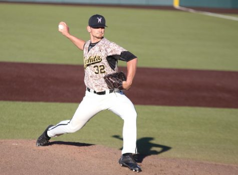 Wichita State senior Zach Lewis winds up a pitch against Evansville at Eck Stadium.