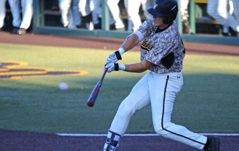 Wichita State sophomore Greyson Jenista bats against Evansville Friday evening at Eck Stadium.