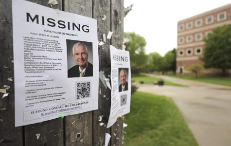 Dozens of posters appeared outside Lindquist Hall Thursday morning asking for the where abouts of President John Bardo. They were removed within an hour, a source said.