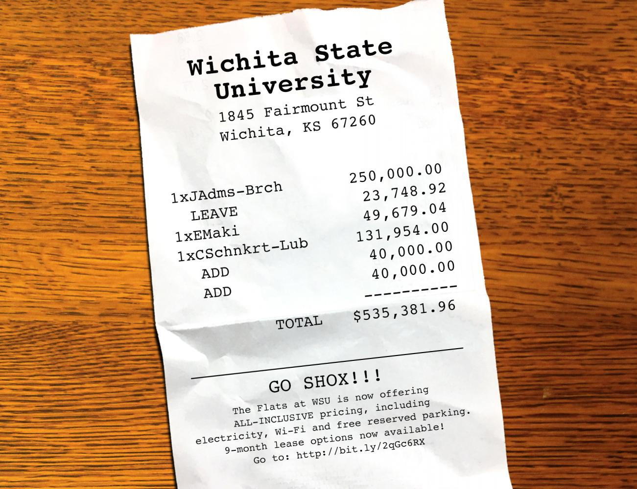 Photo illustration detailing payments made to Wichita State employees who left their positions last school year.