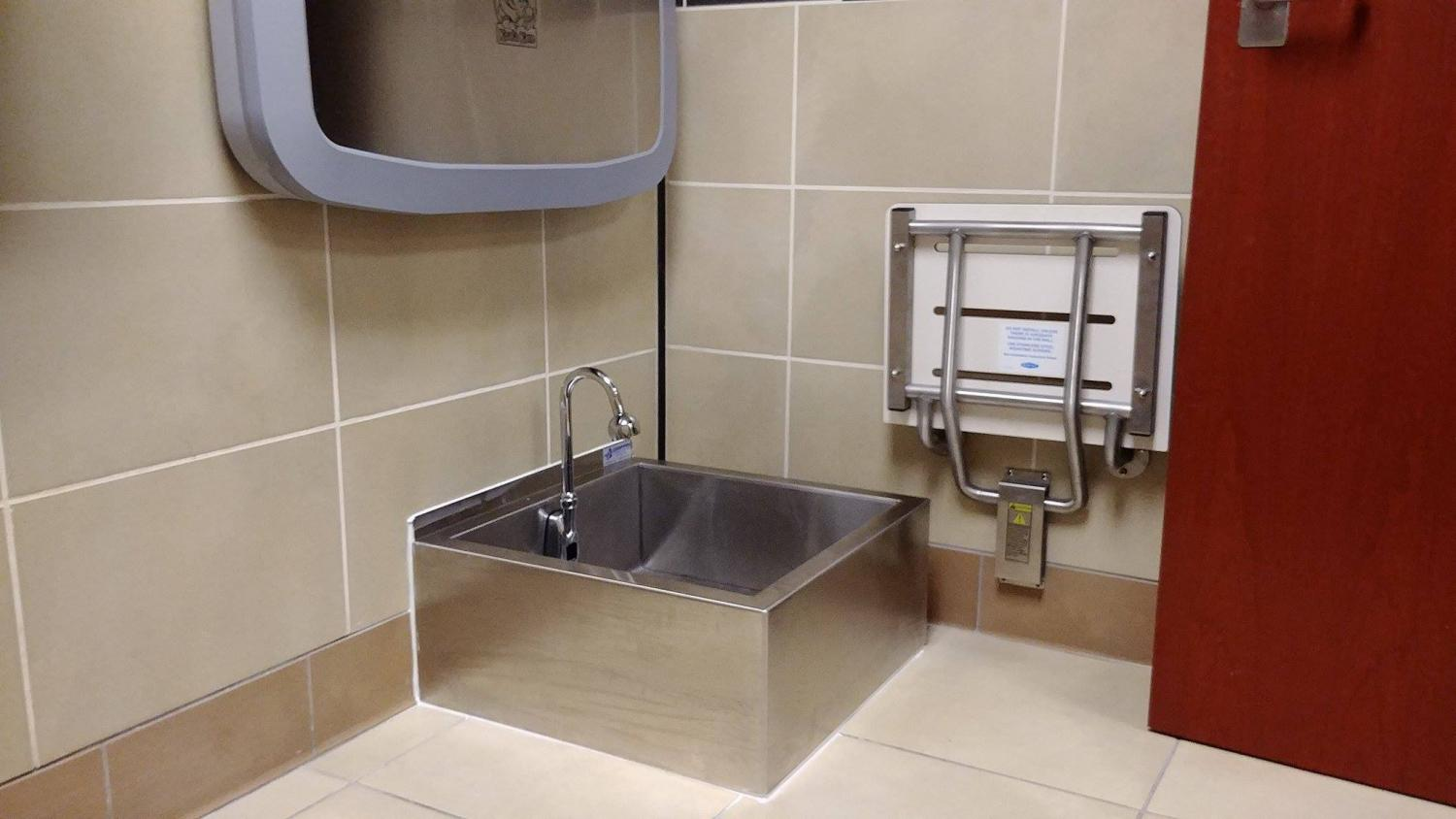 The newly installed washing station is located in the family bathroom on the north side of the RSC.