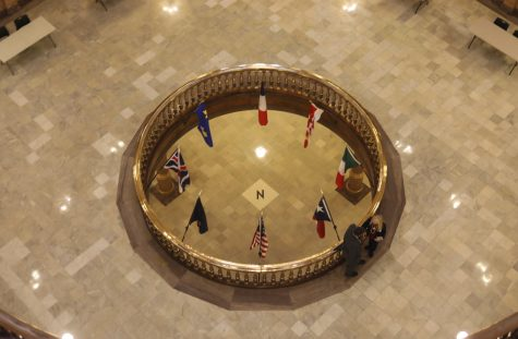 The Kansas State Capitol Building is where the Kansas Legislature meets. The Legislature passed an amendment to the budget bill requiring student fee deliberations to be conducted publicly at Wichita State and five other Regents universities.