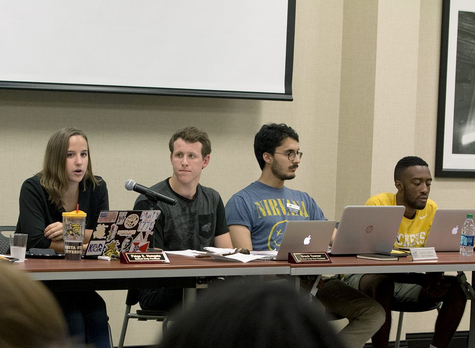 Left to right: Student Body President Paige Hungate, Student Body Vice President Breck Towner,  Chief of Operations Kylen Lawless, and Treasurer Marshall Johnson at a student senate meeting last semester.