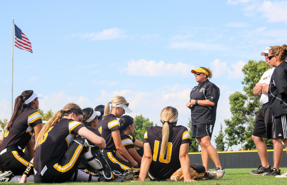 Wichita+State+Softball+players+listen+to+the+coaches+adjustments+after+their+game+Saturday+afternoon+at+Wilkins+Stadium.+%28Sept.+16%2C+2017%29