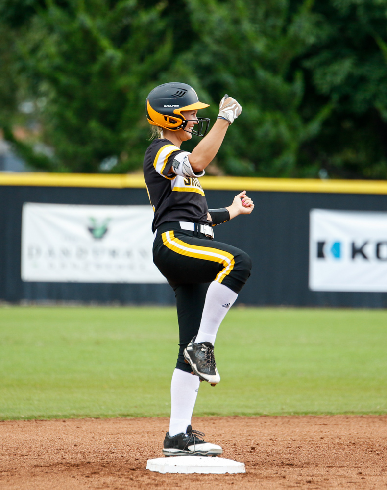Wichita+State%27s+Morgan+Palmer+%2812%29+celebrates+hitting+a+double+in+their+game+against+Hutchinson+Community+College+Saturday+afternoon+at+Wilkins+Stadium.+%28Sept.+16%2C+2017%29