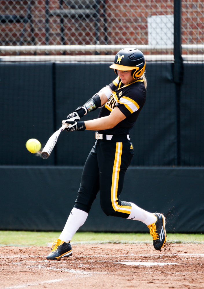 Wichita+State%27s+Bailey+Lange+%281%29+hits+a+bomb+against+Hutchinson+Saturday+afternoon+at+Wilkins+Stadium.+%28Sept.+16%2C+2017%29