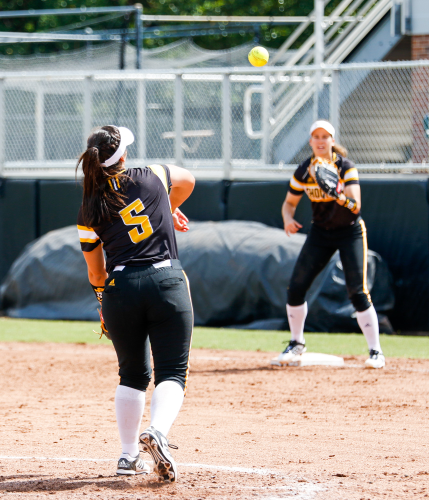 Wichita+State%27s+Hailey+Martinez+throws+the+ball+to+first+for+an+out+Saturday+afternoon+at+Wilkins+Stadium.+%28Sept.+16%2C+2017%29