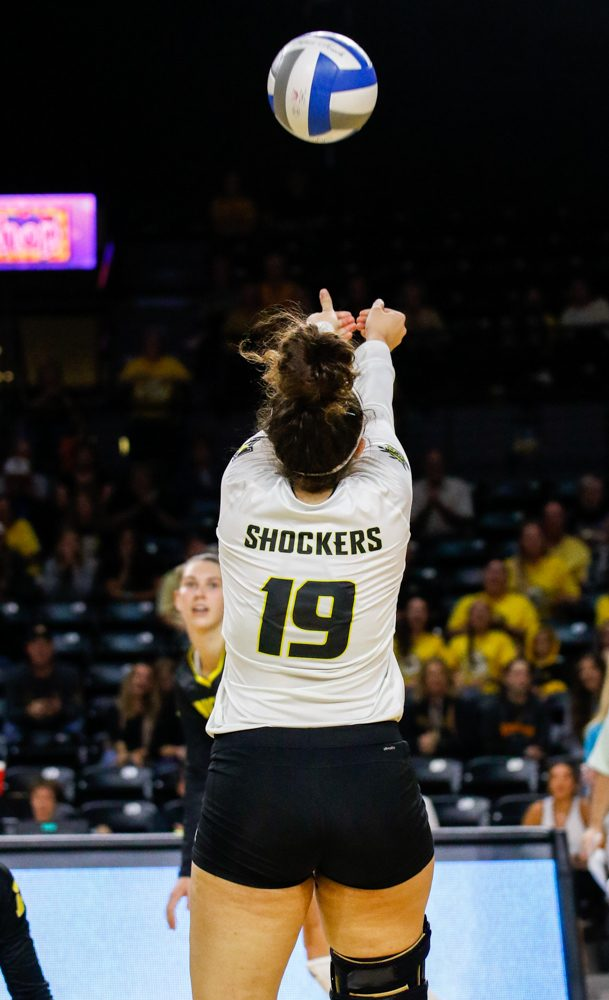 Wichita+State%27s+Giorgia+Civita+%2819%29+bumps+the+ball+to+her+teammate+against+Iowa+State+on+Sunday+afternoon+at+Koch+Arena.+%28Sept.+17%2C+2017%29