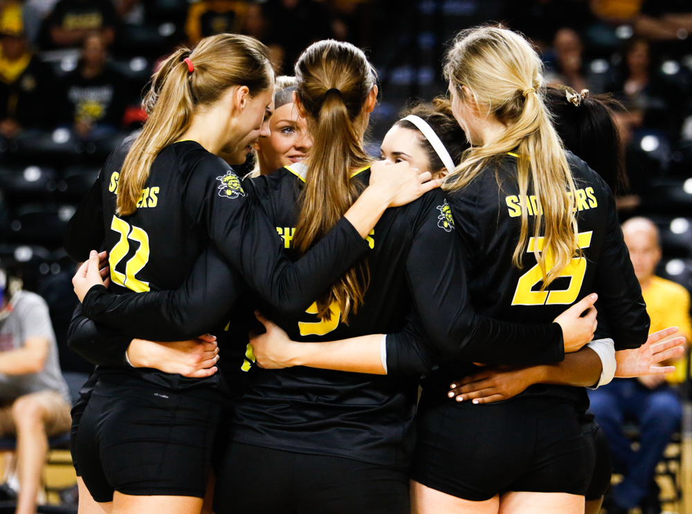 Wichita+State+Volleyball+collects+themselves+after+winning+a+point+against+Iowa+State+on+Sunday+afternoon+at+Koch+Arena.+%28Sept.+17%2C+2017%29