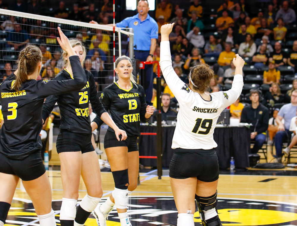 Wichita+State+Volleyball+celebrates+after+winning+a+point+against+Iowa+State+on+Sunday+afternoon+at+Koch+Arena.+%28Sept.+17%2C+2017%29
