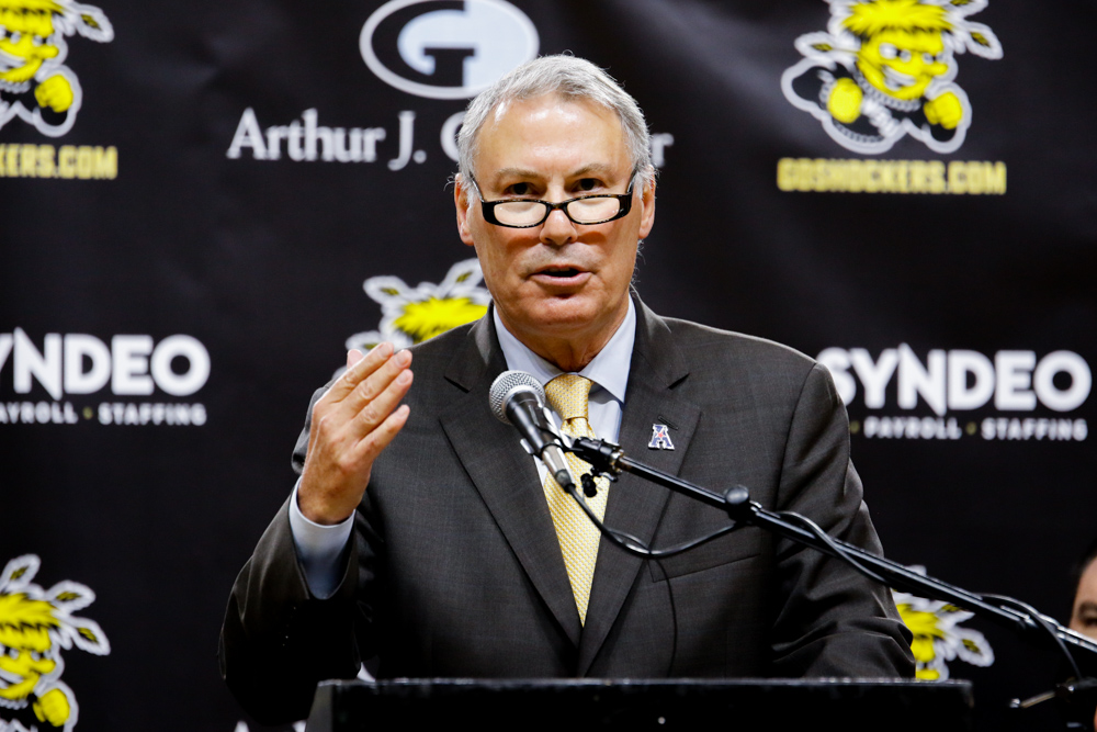 The+American+Athletic+Conference+commissioner+Mike+Aresco+addresses+Shocker+fans+at+the+State+of+the+American+pep+rally.