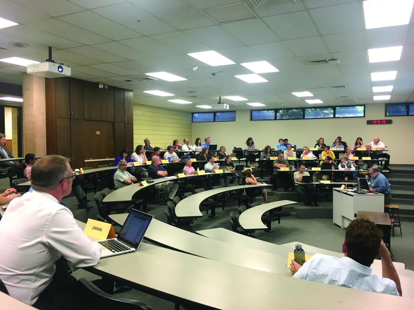 Rick Muma addressed the faculty senate with updates on Wichita State's strategic enrollment plan