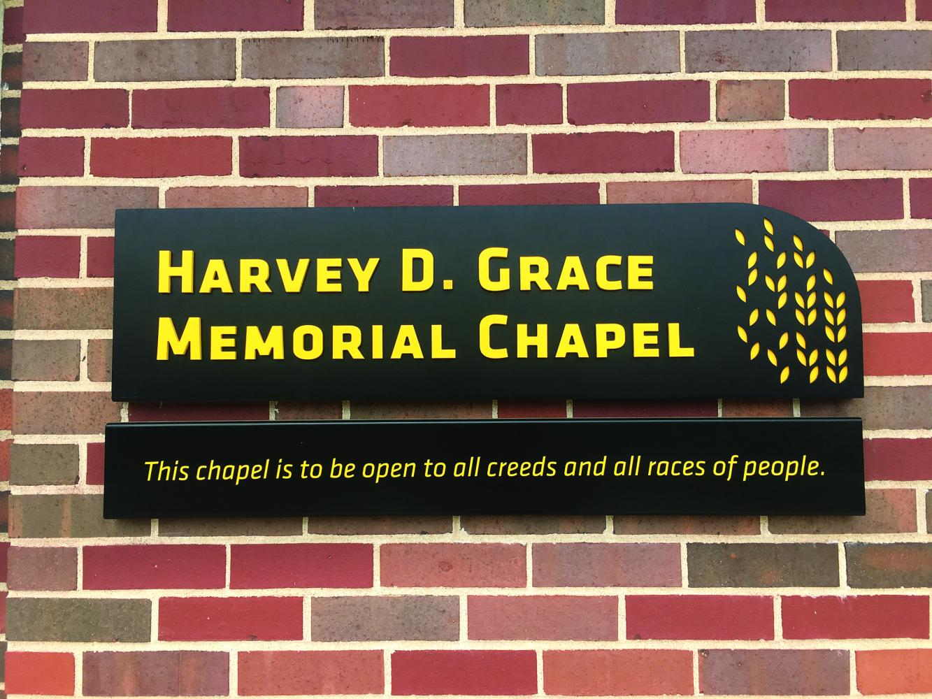 The new sign outside the Harvey D. Grace Memorial Chapel reads