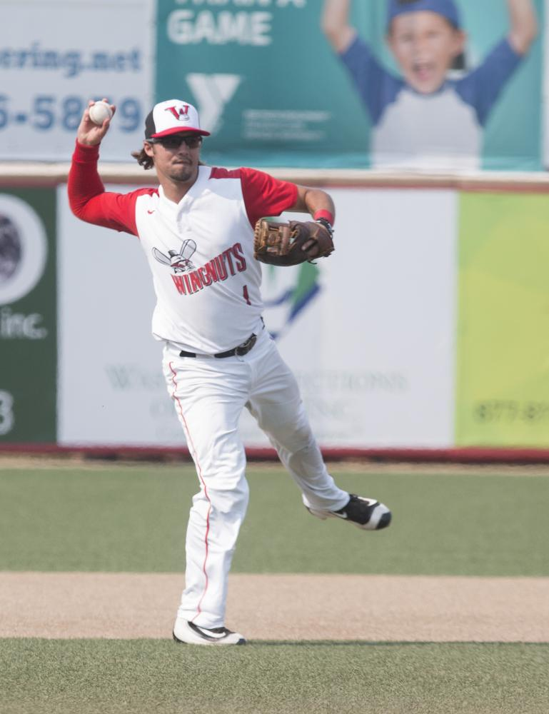 Wichita Wingnuts player Wesley Phillips  fields the ball during the game against the Salina Stockades. Phillips played baseball at Wichita State in 2014 before transferring to another university.