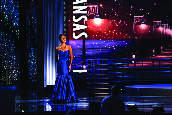 Krystian Fish, Miss Kansas 2017, walks across the stage at Miss America contest in Atlantic City.