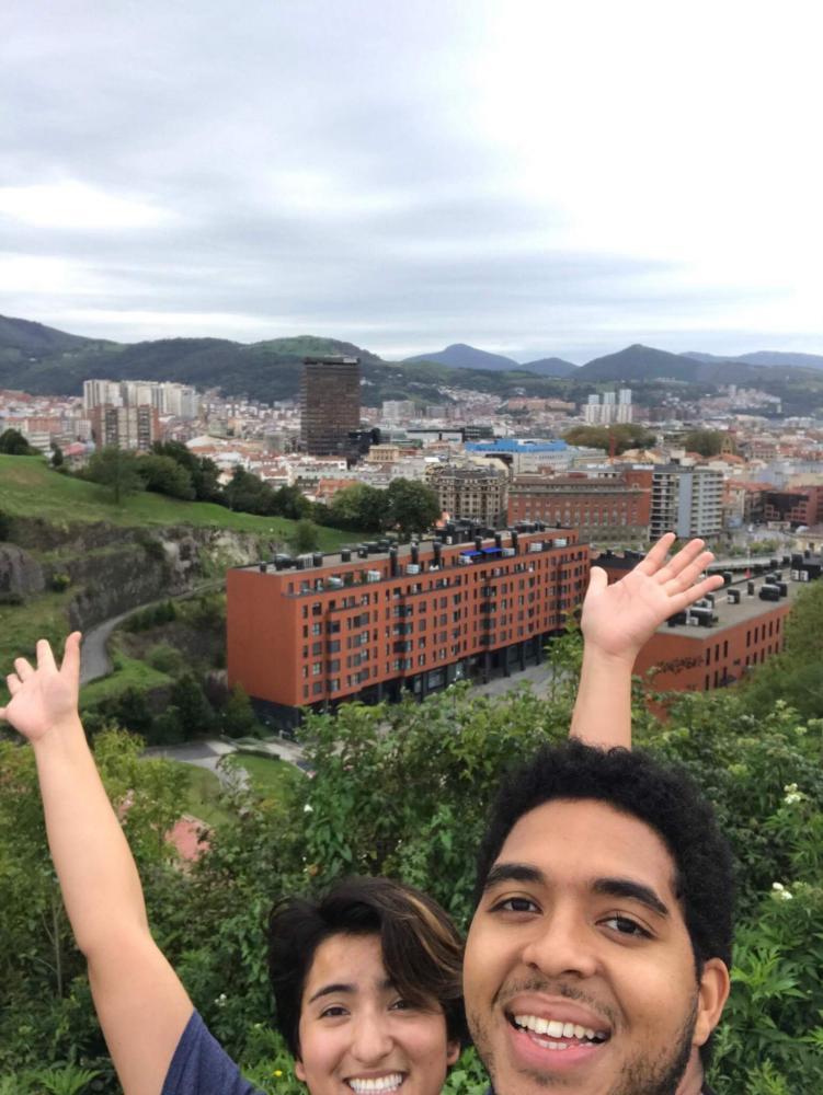 Aileen Rueda-DaCosta and Kori DaCosta overlooking the city at Etxebarria Park.