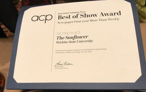 The Sunflower recognized as second in Best of Show by Associated College Press