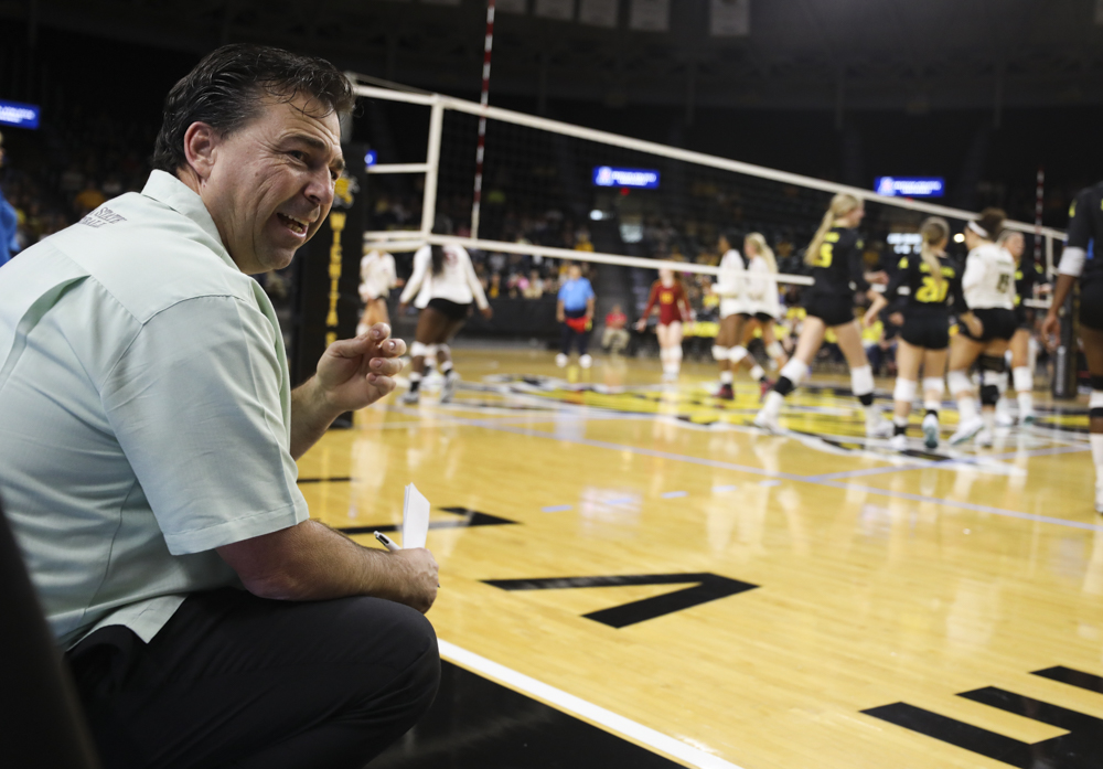 Coach+Chris+Lamb+looks+at+his+bench+after+a+play+during+the+match+in+Koch+Arena.+