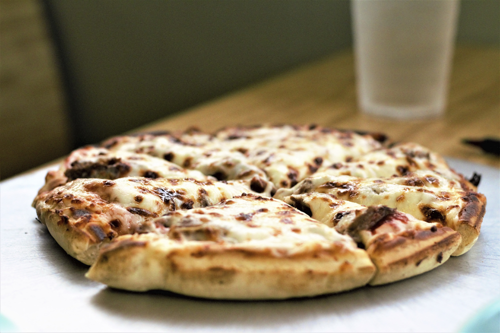 Philly cheese steak pizza from Po Boy.