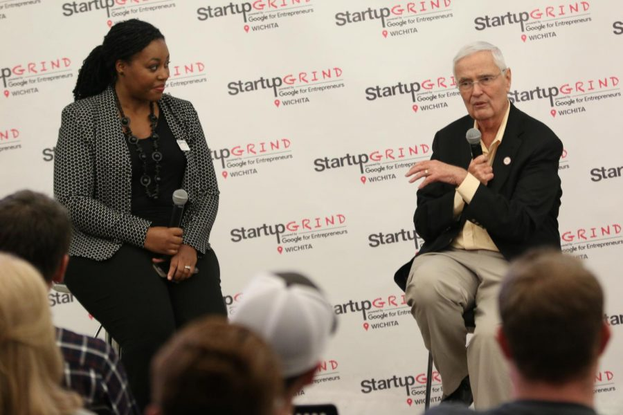 Wichita+State+President+John+Bardo%2C+responds+to+a+question+during+the+Startup+Grind+ICT+event+held+at+The+Lux.+