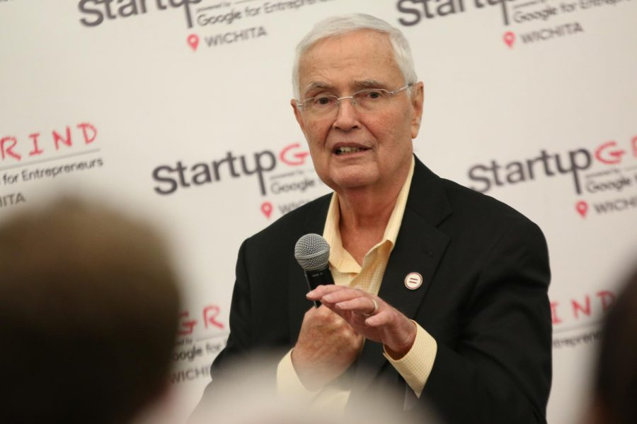 Wichita+State+President+John+Bardo%2C+responds+to+a+question+during+the+Startup+Grind+ICT+event+held+at+The+Lux+in+the+fall.+