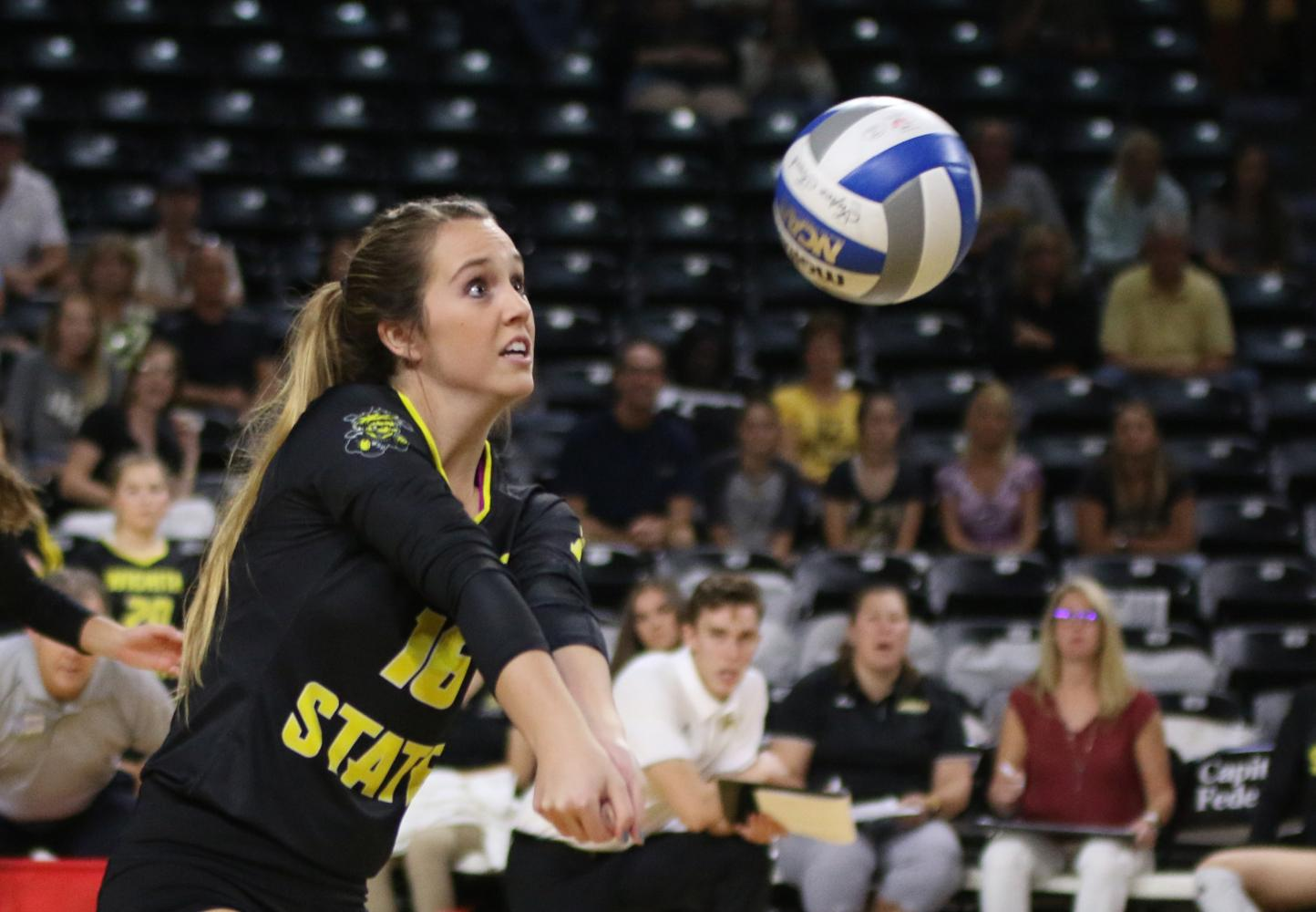 Wichita State's Kara Bown (16) digs the ball during the game against UCF last year.