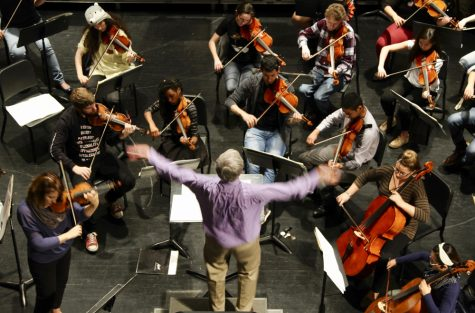 Dr. Mark Laycock conducts the Wichita State symphony as they practice for a concert.