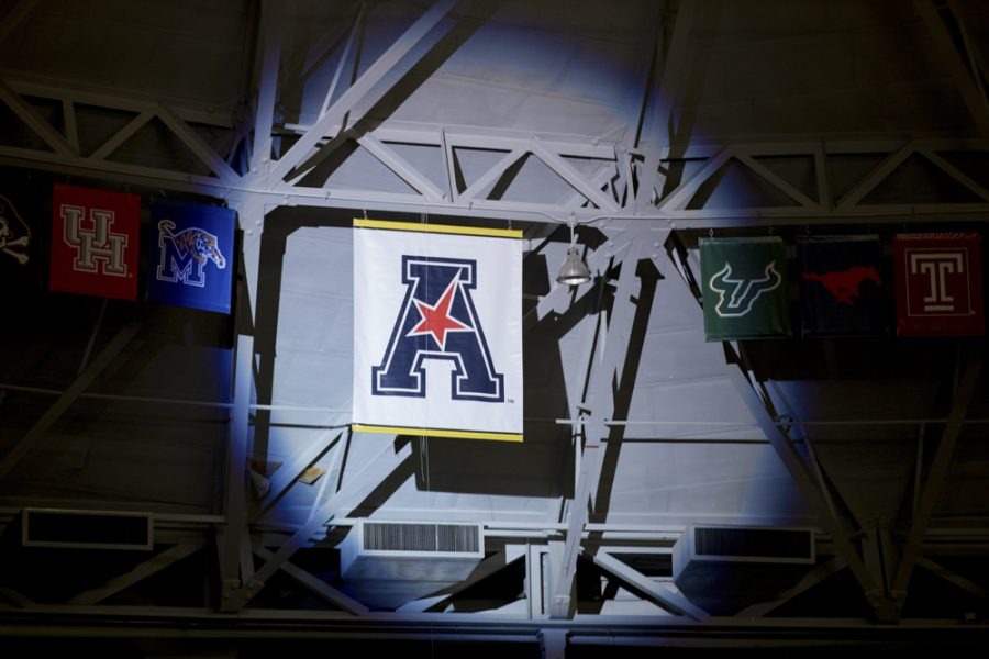 The+AAC+banner+is+unveiled+during+the+State+of+the+American+event+in+Koch+arena.+