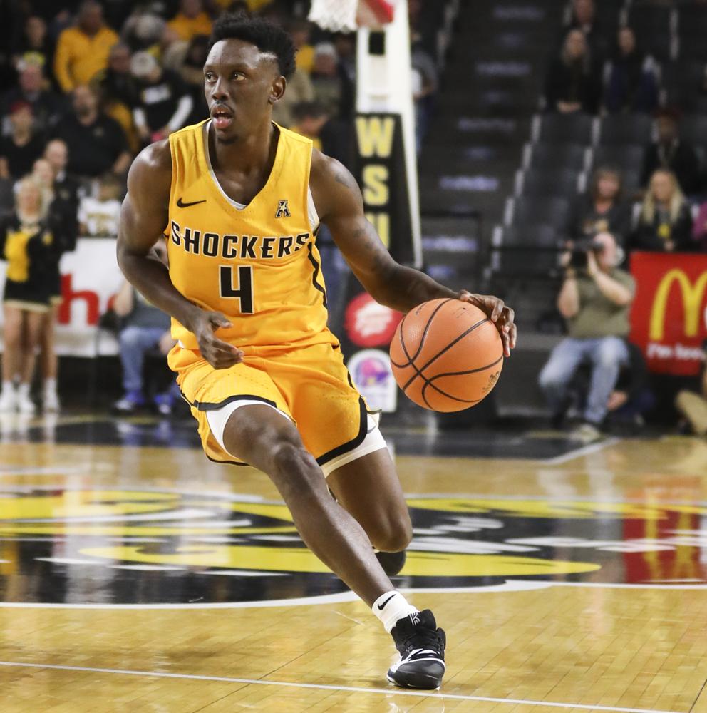Wichita State guard Samajae Haynes-Jonesruns downcourt against Newman University.