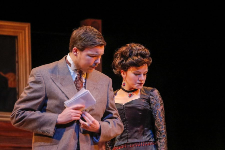 Jessica Curtiss and Robert Stillwell perform on stage during the rehearsal of Hedda Gabler.