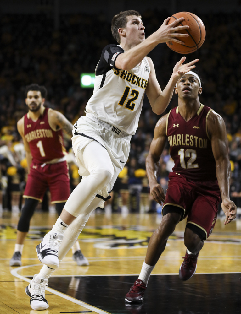Wichita+State+Shockers+guard+Austin+Reaves+drives+in+for+a+layup+during+the+game+against+College+of+Charleston+in+Koch+arena.