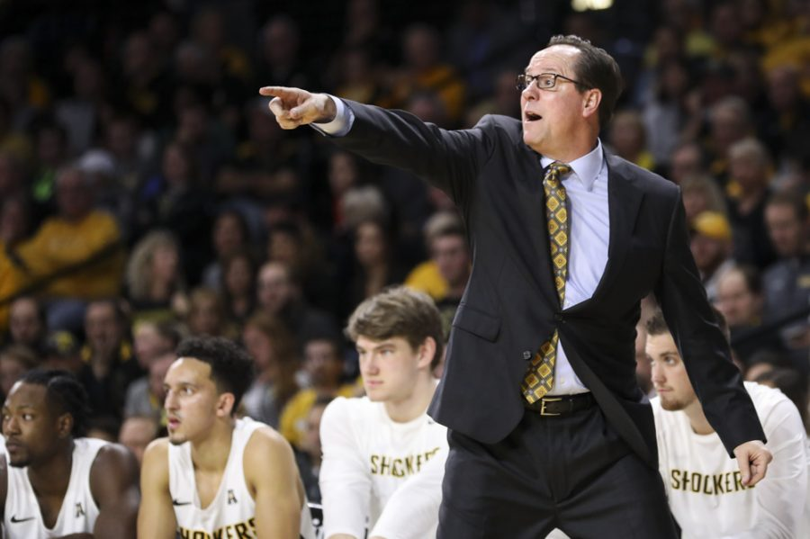 Wichita State Shockers head coach Gregg Marshall yells to players during the game against College of Charleston in Koch arena.