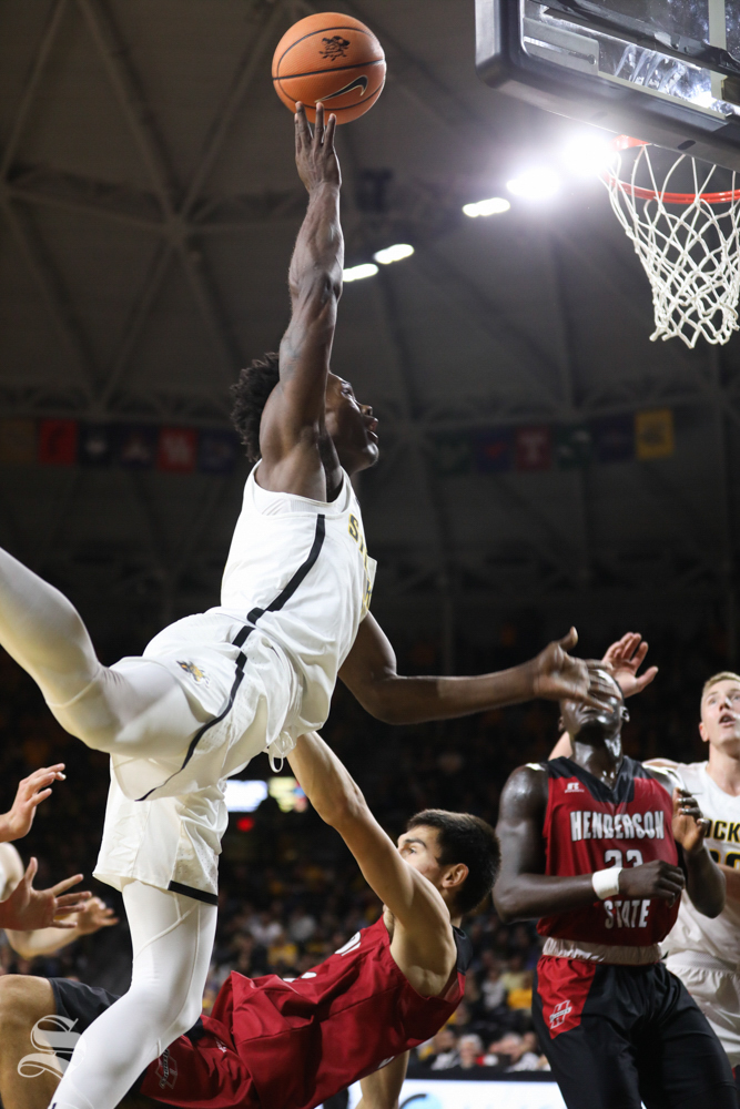 Wichita State Shockers forward Rod Brown goes for a layup during the exhibition opener against Henderson State in Koch Arena.