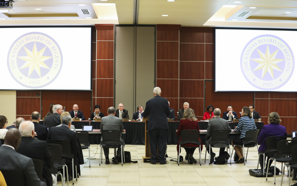 John Bardo makes opening statements to The Kansas Board of Regents meeting in the Beggs Ballroom in the Rhatigan Student Center.