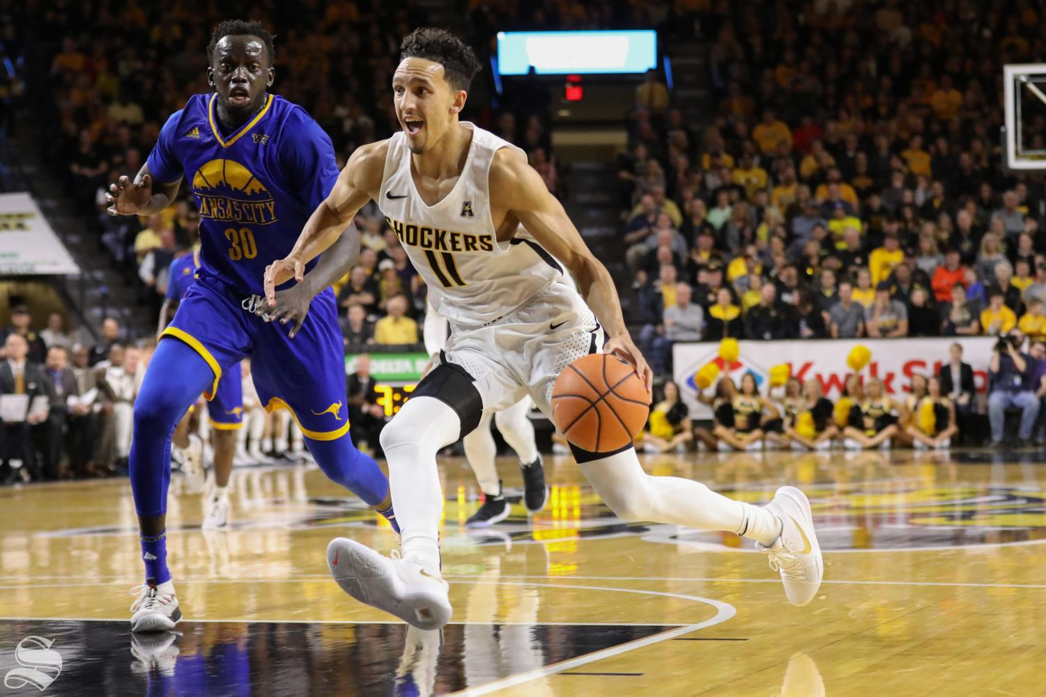 Wichita State guard Landry Shamet drives past a defender during their victory over UMKC. (Nov. 10, 2017)