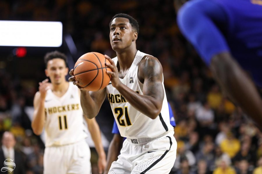 Wichita State forward Darral Willis Jr. attempts a free throw shot during their victory over UMKC. (Nov. 10, 2017)